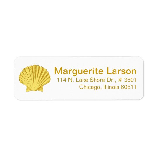 Scallop Seashell Beach | yellow Return Address Label
