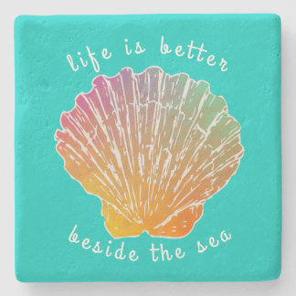 Scallop Shell Art Life Beside the Sea Stone Coaster