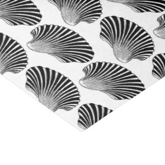 Scallop Shell Block Print, Black and White Tissue Paper