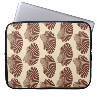 Scallop Shell Block Print, Brown and Beige Laptop Sleeve