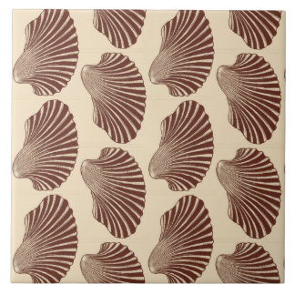 Scallop Shell Block Print, Brown and Beige Large Square Tile