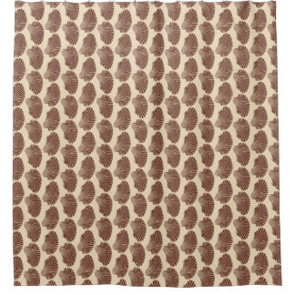 Scallop Shell Block Print, Brown and Beige Shower Curtain