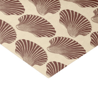 Scallop Shell Block Print, Brown and Beige Tissue Paper