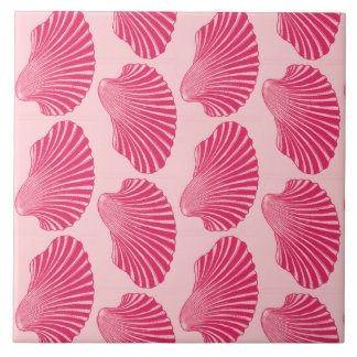 Scallop Shell Block Print, Fuchsia and Pale Pink Ceramic Tile
