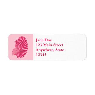 Scallop Shell Block Print, Fuchsia and Pale Pink Return Address Label