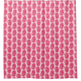 Scallop Shell Block Print, Fuchsia and Pale Pink Shower Curtain