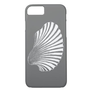 Scallop Shell Block Print, Gray / Grey and White iPhone 8/7 Case