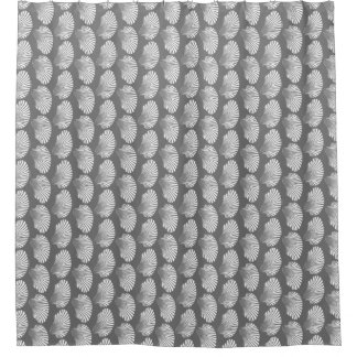 Scallop Shell Block Print, Gray / Grey and White Shower Curtain