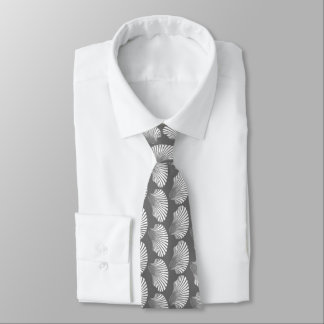 Scallop Shell Block Print, Gray / Grey and White Tie