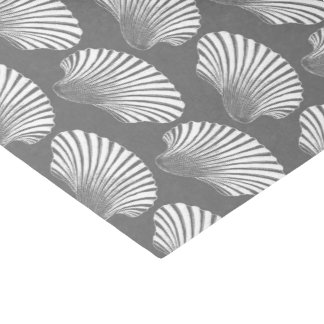 Scallop Shell Block Print, Gray / Grey and White Tissue Paper