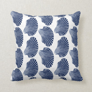 Scallop Shell Block Print, Indigo and White Cushion