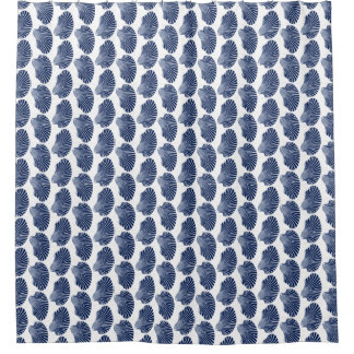Scallop Shell Block Print, Indigo and White Shower Curtain