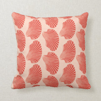 Scallop Shell Block Print, Light Coral Orange Cushion