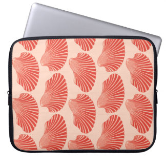 Scallop Shell Block Print, Light Coral Orange Laptop Computer Sleeves
