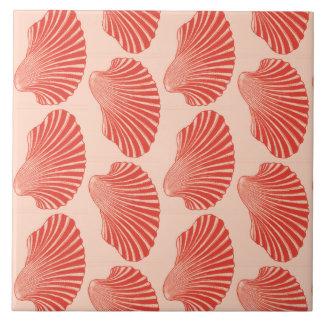 Scallop Shell Block Print, Light Coral Orange Large Square Tile