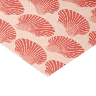 Scallop Shell Block Print, Light Coral Orange Tissue Paper