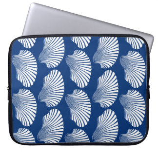 Scallop Shell Block Print, Navy Blue and White Laptop Sleeve