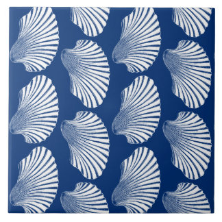 Scallop Shell Block Print, Navy Blue and White Large Square Tile