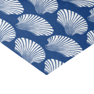 Scallop Shell Block Print, Navy Blue and White Tissue Paper