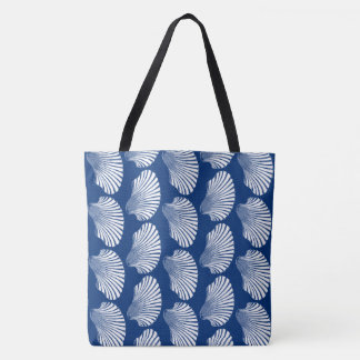 Scallop Shell Block Print, Navy Blue and White Tote Bag