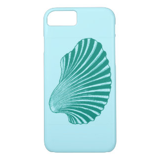 Scallop Shell Block Print, Turquoise and Aqua iPhone 8/7 Case