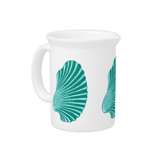 Scallop Shell Block Print, Turquoise and Aqua Pitcher
