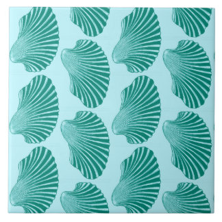 Scallop Shell Block Print, Turquoise and Aqua Tile