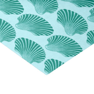 Scallop Shell Block Print, Turquoise and Aqua Tissue Paper