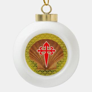 Scallop Shell Ceramic Ball Christmas Ornament