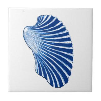 Scallop Shell, Indigo Blue and White Ceramic Tile