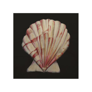 scallop shell print on wood