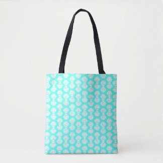 Scallop Shells Pattern Aquamarine and White Tote Bag