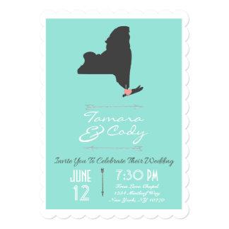 Scalloped Aqua Blue New York Wedding Invitation