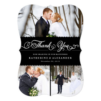 Scalloped Black Band Wedding Photo Thank You Card 13 Cm X 18 Cm Invitation Card
