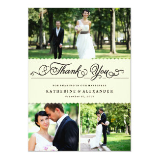 Scalloped Cream Band Wedding Photo Thank You Card 13 Cm X 18 Cm Invitation Card