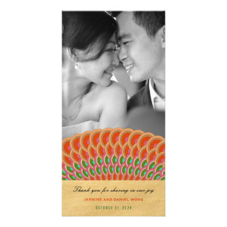 Scalloped Fan Asian Wedding Thank You Photo Card