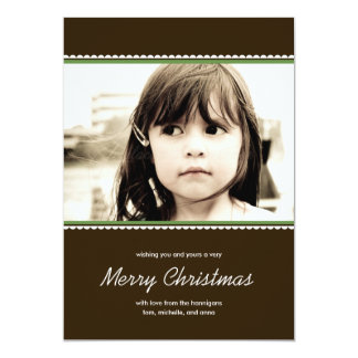 """Scalloped Frame Holiday Photo Cards - Green - 5"""" X 7"""" Invitation Card"""