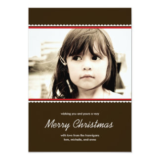"""Scalloped Frame Holiday Photo Cards - Red - 5"""" X 7"""" Invitation Card"""