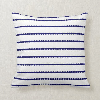 Scalloped Navy Blue Stripes on white Throw Pillow