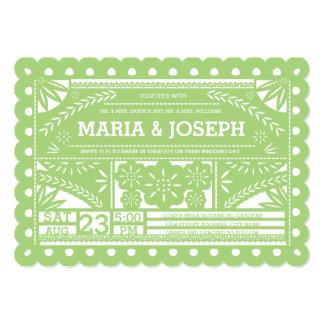 Scalloped Papel Picado Wedding Invite - Green