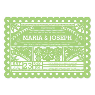 Scalloped Papel Picado Wedding Invite - Green