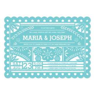 Scalloped Papel Picado Wedding Invite-Tiffany Blue Card