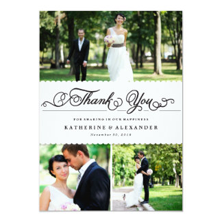 Scalloped White Band Wedding Photo Thank You Card