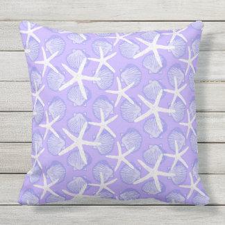 Scallops & Starfish in Purple & White Pattern Cushion