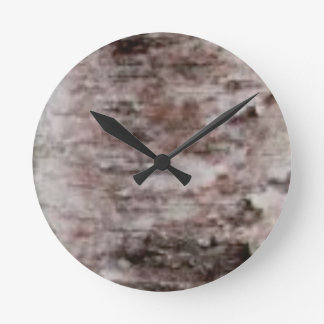 scaly white bark art round clock
