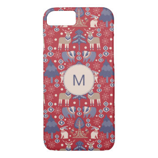 Scandi Red Navy Christmas pattern with monogram iPhone 8/7 Case
