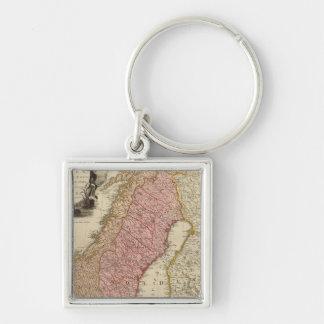 Scandia, Scandinavia Silver-Colored Square Key Ring