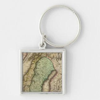 Scandinavia 3 Silver-Colored square key ring