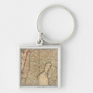 Scandinavia, Sweden, Denmark 2 Silver-Colored Square Key Ring