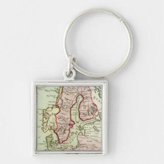 Scandinavia, Sweden, Denmark Silver-Colored Square Key Ring